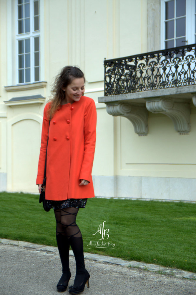 Orange between-seasons coat