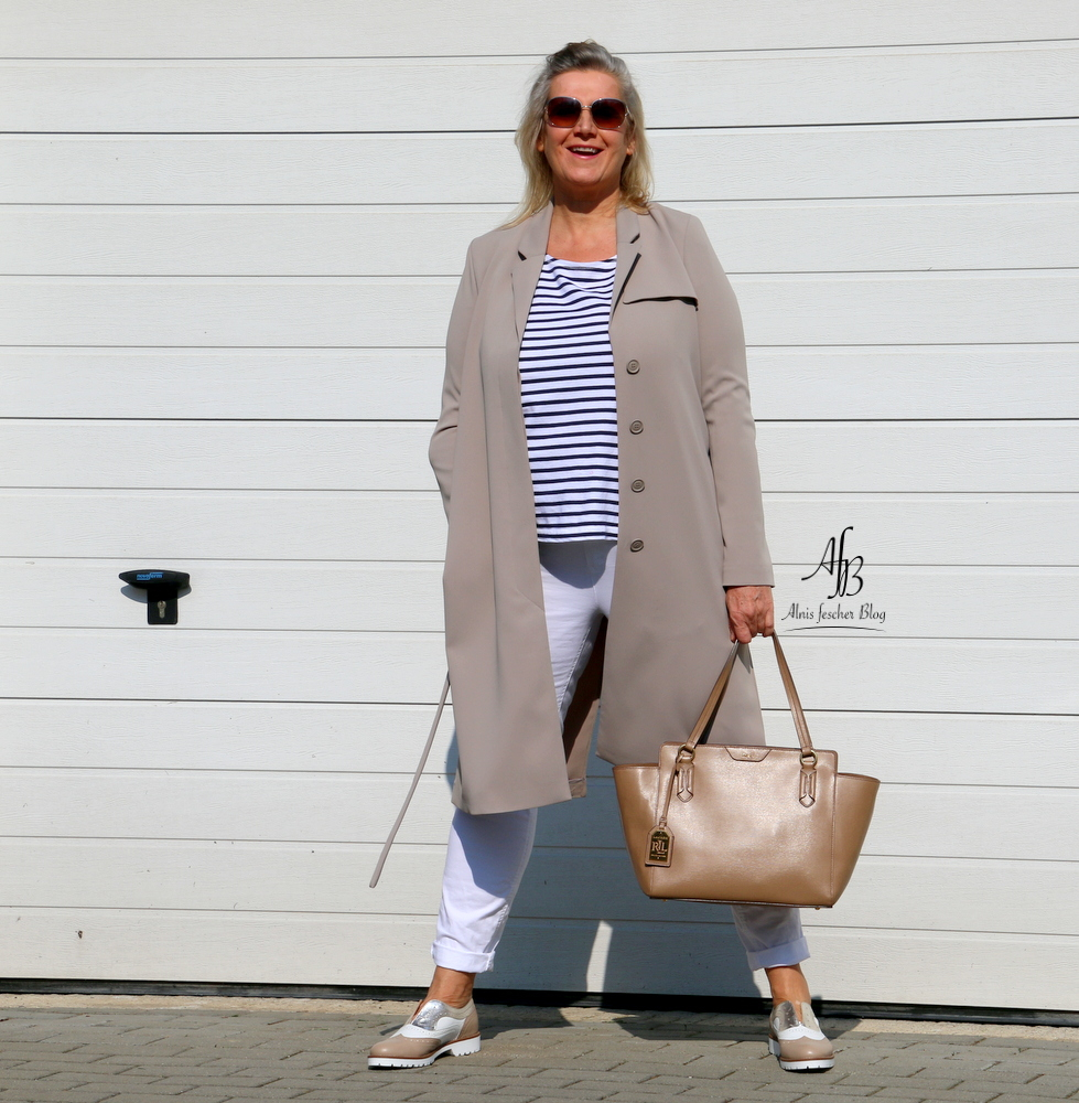 White navy meets grey trench