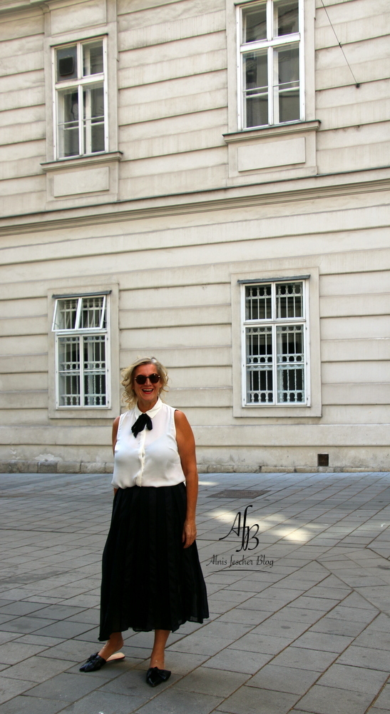 White blouse and black skirt