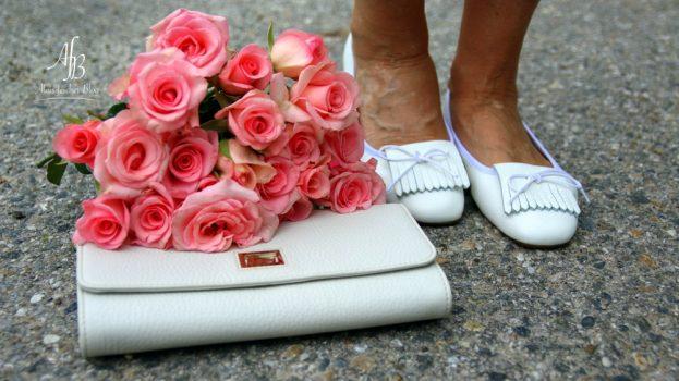 Outfit: Seidenbluse und rosa Blazer, Leinenhose und BalleretteOutfit: Seidenbluse und rosa Blazer, Leinenhose und Ballerette