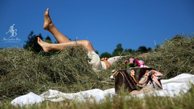 Outfit: Sommerkleid und Louis Vuitton im Heu