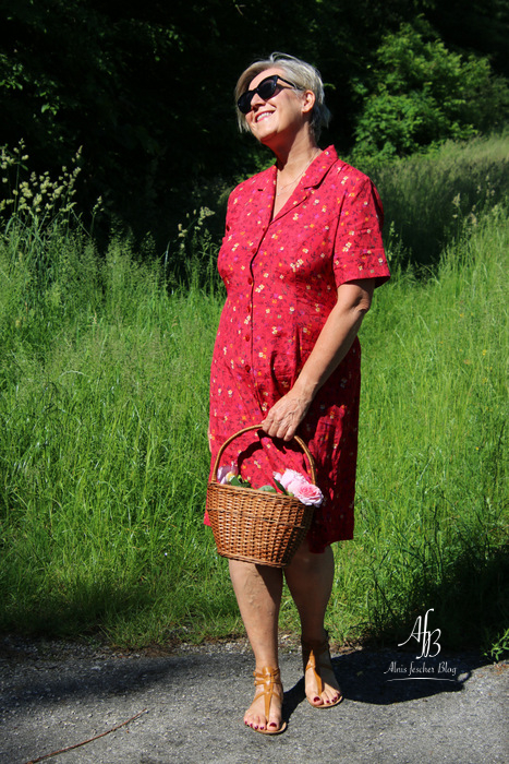 Lady in a red Vintage dress